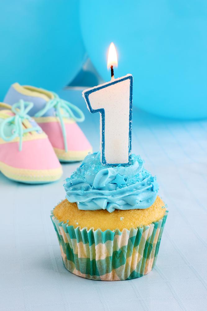 baby's first birthday cupcake